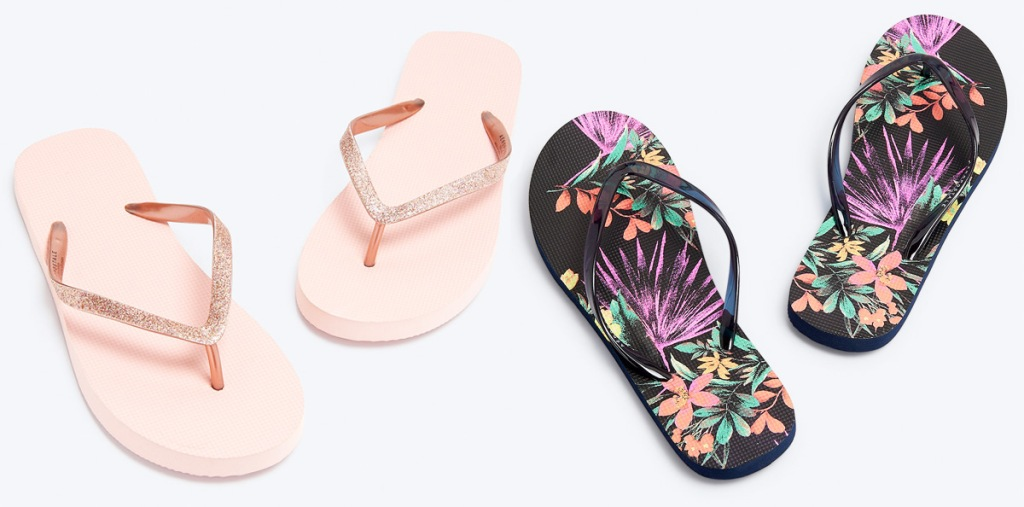 two pairs of womens flip flops in pink with glitter straps in black floral print