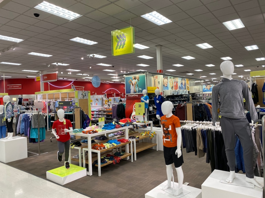 target display of all in motion kids clothes
