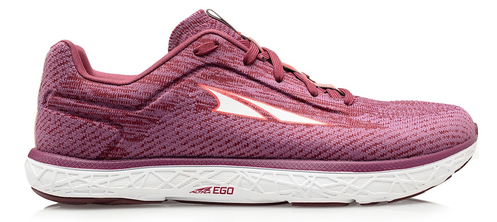 maroon colored knit running shoe with white rubber sole