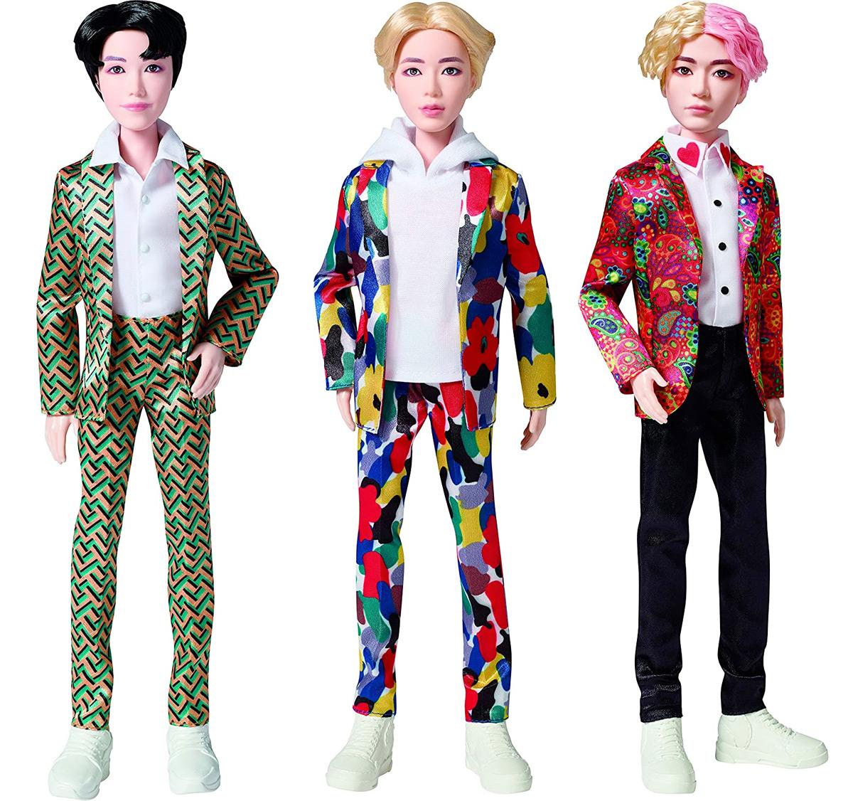 j-Hope, Jin, and V dolls from Bangtan Boys K-pop group