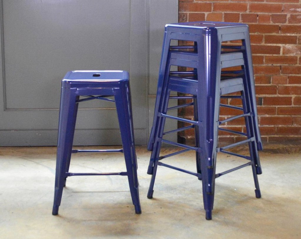 four metal industrial blue backless bar stools