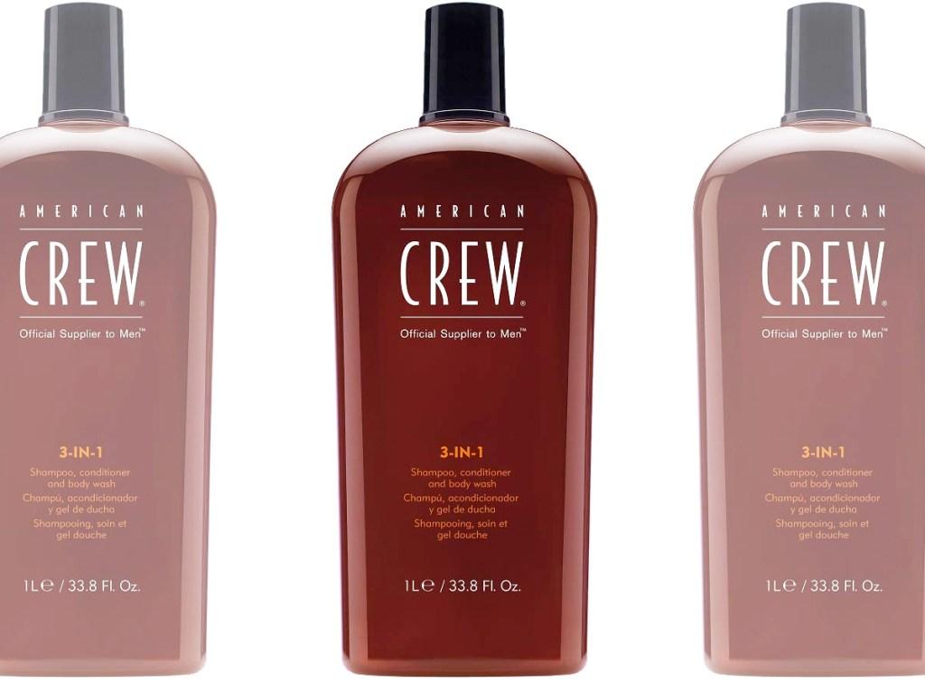 three brown bottles of Americna Crew brand 3-in-1 shampoo