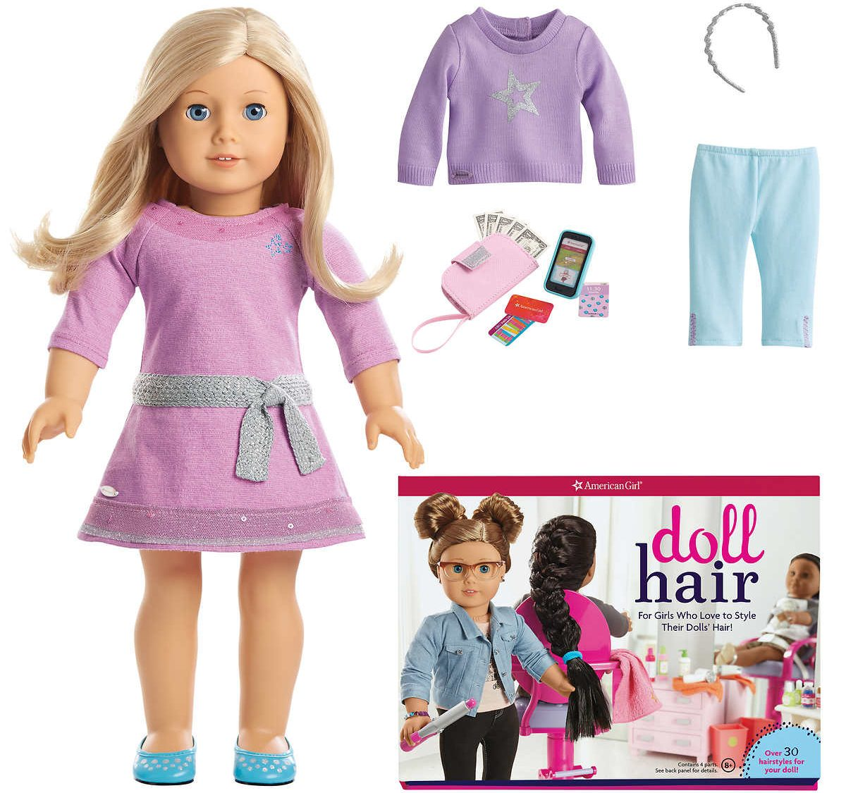 stock images of American Girl Doll with Hair Styling Set contents