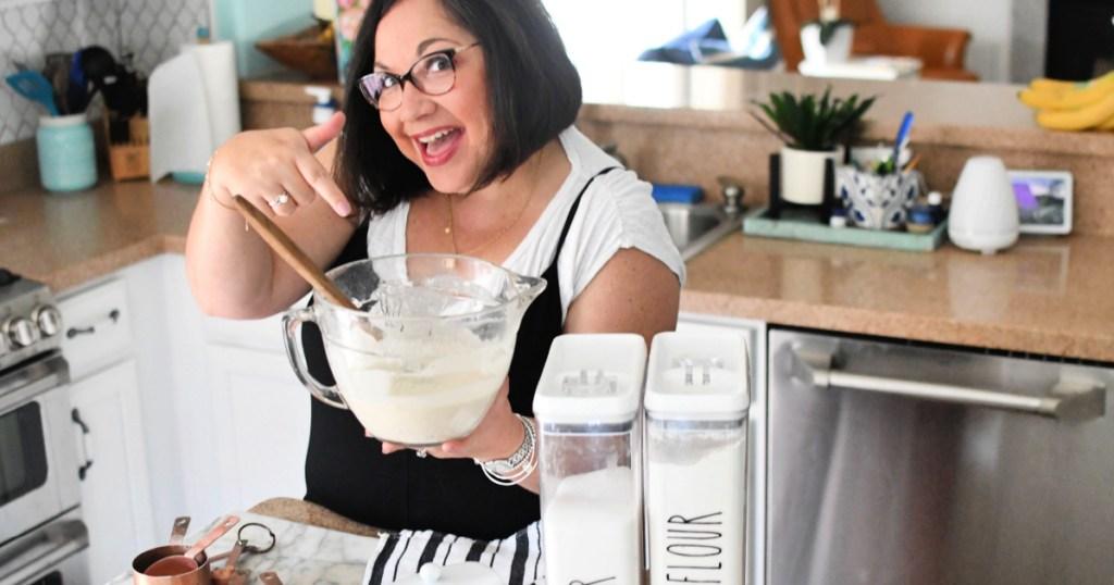 woman holding an Anchor Hocking 2 Quart Ovenproof Glass Batter Bowl