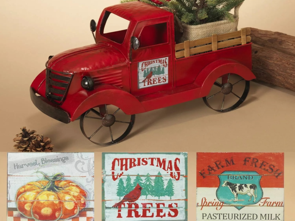 Small red truck with three seasonal magnet options