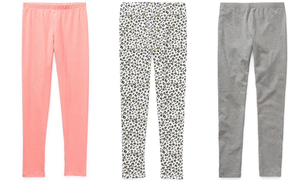three pairs of girls leggings in solid pink, solid grey, and grey leopard print