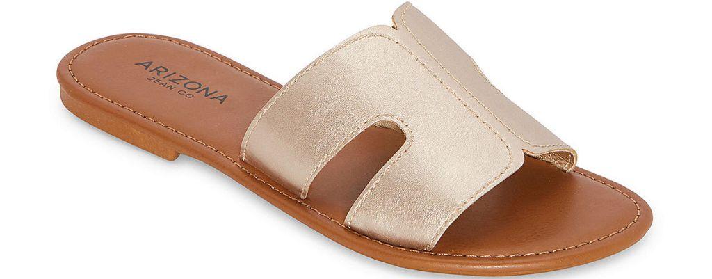light gold and tan women's sandal