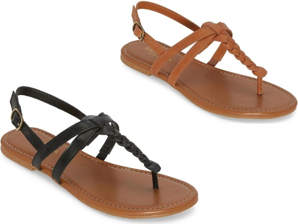 two right foot women's flat sandals