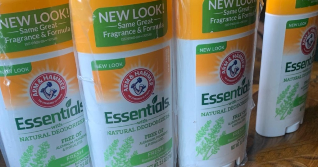 multiple containers of Arm & Hammer natural deodorant