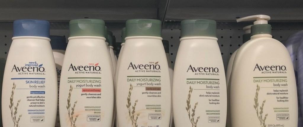 row of Aveeno body washes
