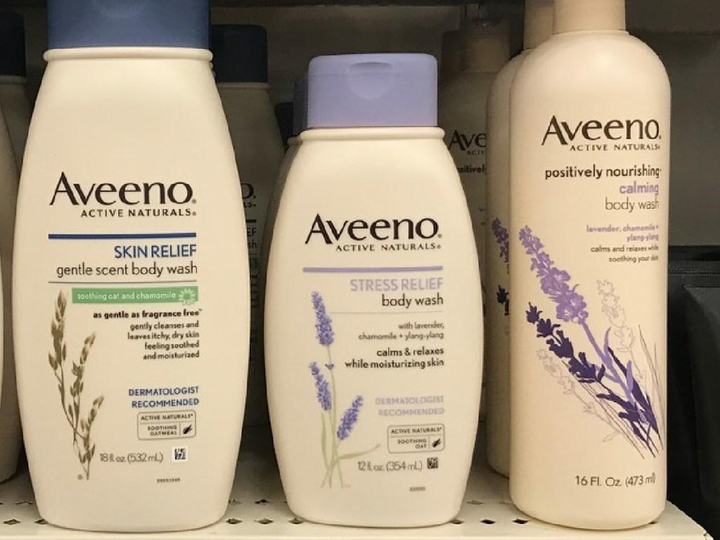 bottles of body wash on store shelf