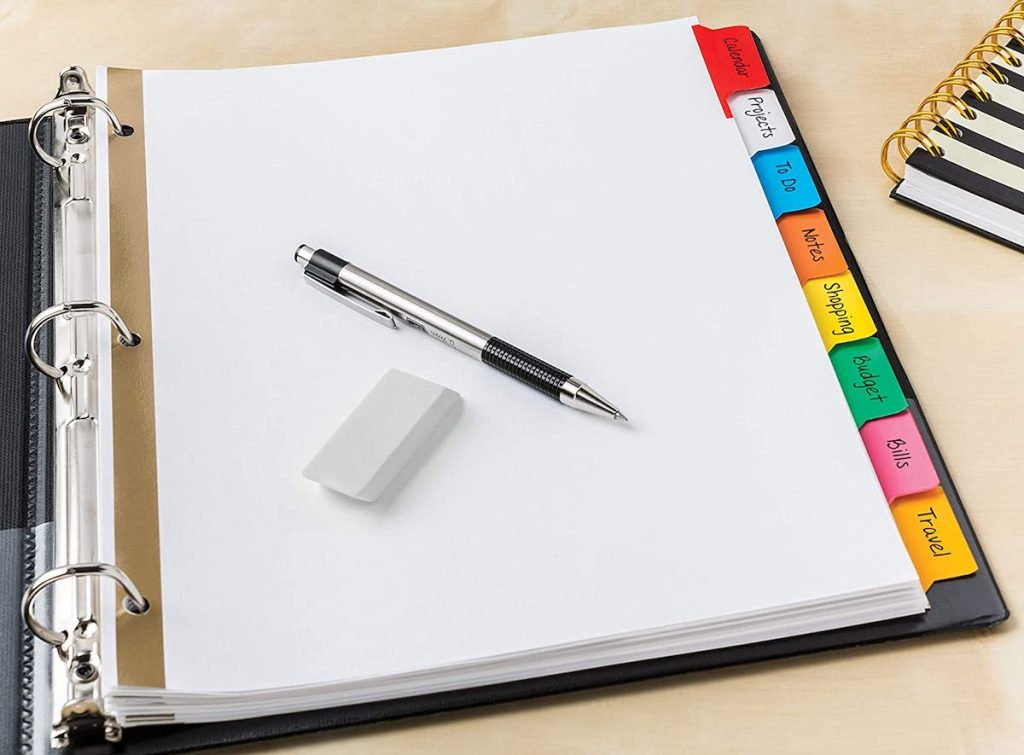 Avery 8-Tab Binder Dividers pencils and erasers