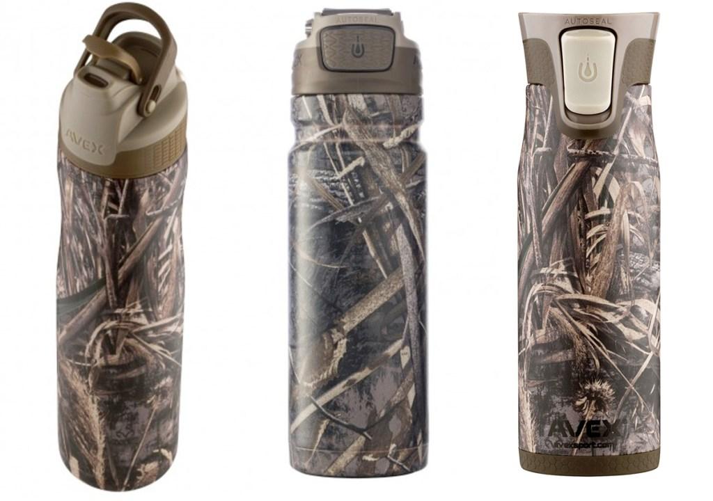 three camo print water bottles and travel mugs