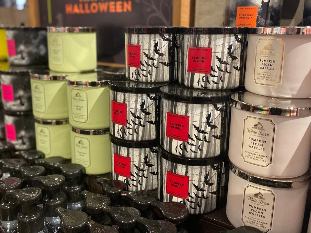 display of Bath & Body Works Halloween candles