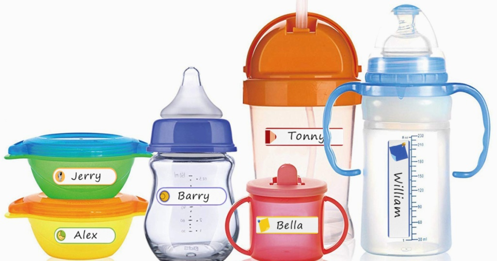 baby bottles cups and bowls labeled
