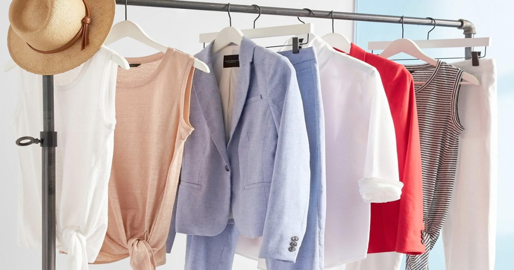 mens and womens banana republish apparel on hangers hanging on clothing rack