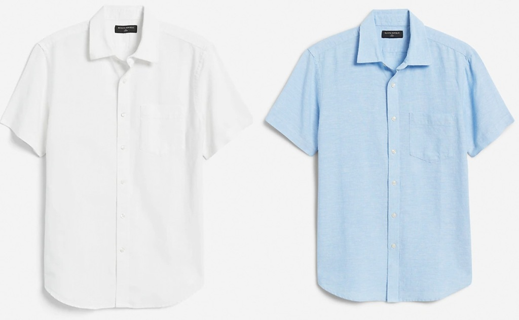 two short sleeve button down men's tops in white and light blue