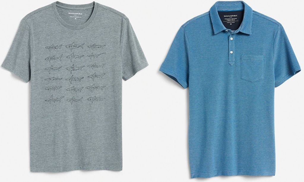 two mens tops in grey with shark print and blue polo shirt
