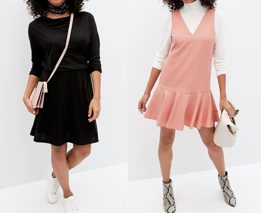 two women modeling dresses in solid black and pink with a white shirt underneath