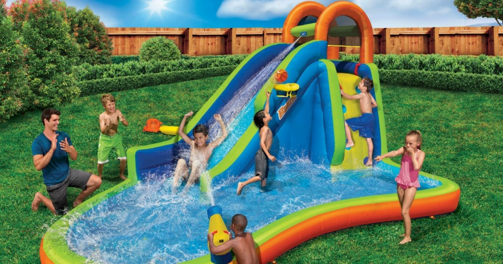 inflatable water park with kids playing