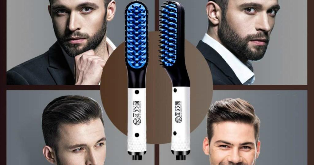 beard straightener with four men
