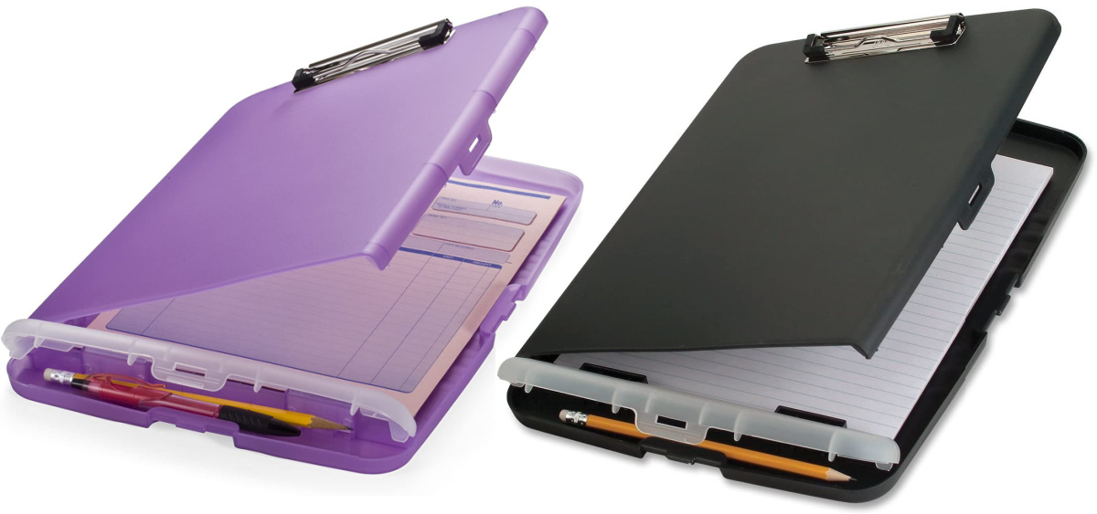 Officemate Slim Clipboard Storage Boxes in black and purple