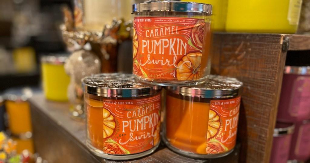 bath & body works fall candles sweet caramel pumpkin