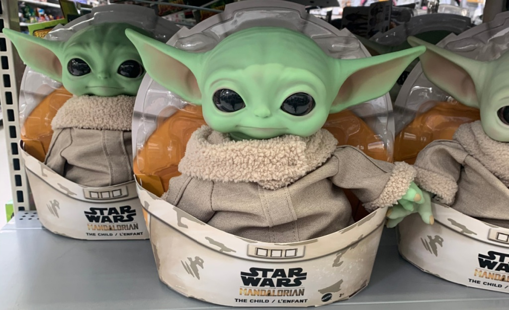 star wars the child baby yoda plush at walmart on shelf
