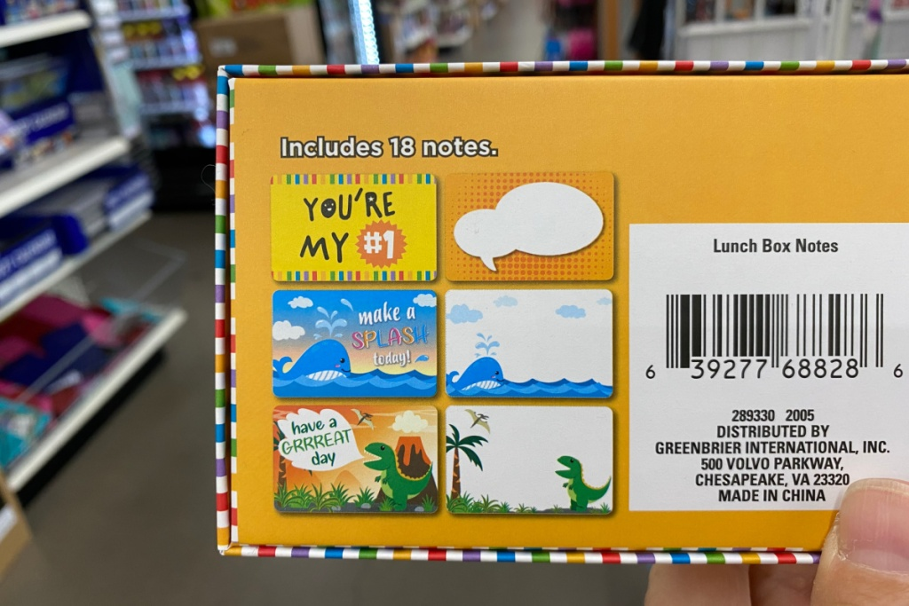 lunchbox notes in box at dollar tree showing back of box
