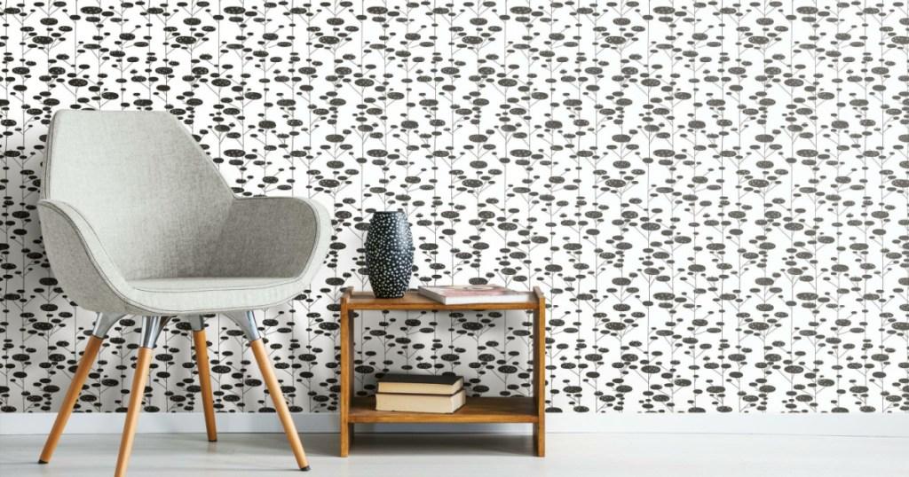 peel & stick wallpaper retro trees