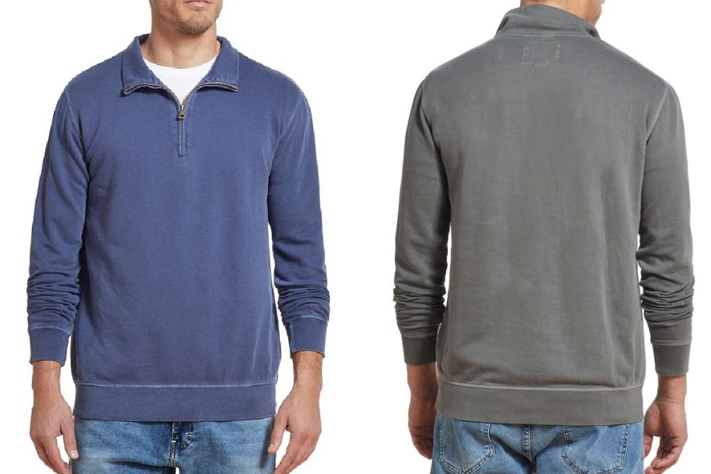 weatherproof vintage mens quarter zip sweater navy and grey