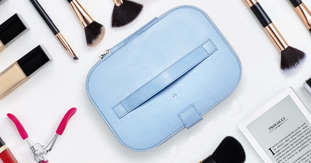 uv sterilizer cosmetic bag with makeup brushes