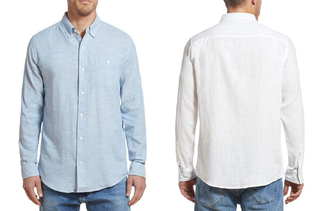 weatherproof vintage mens slub knit shirt blue and white