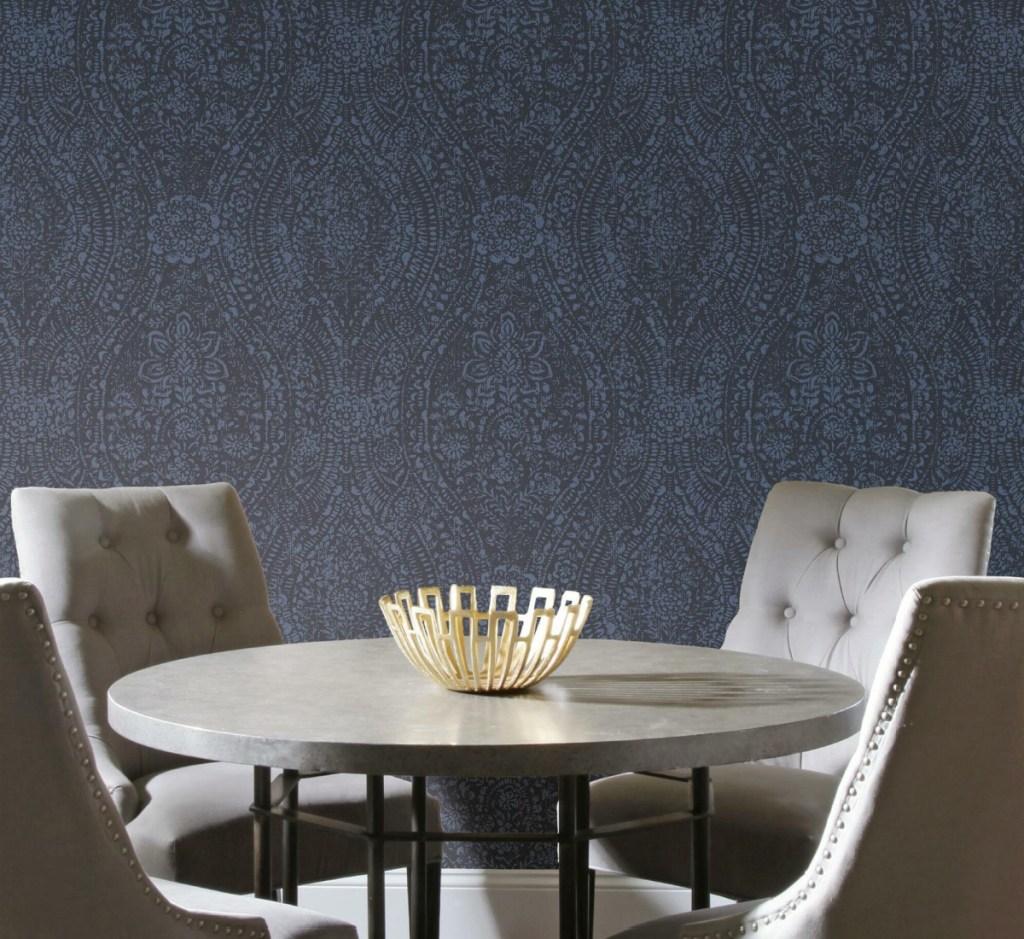 peel & stick wallpaper navy blue vintage