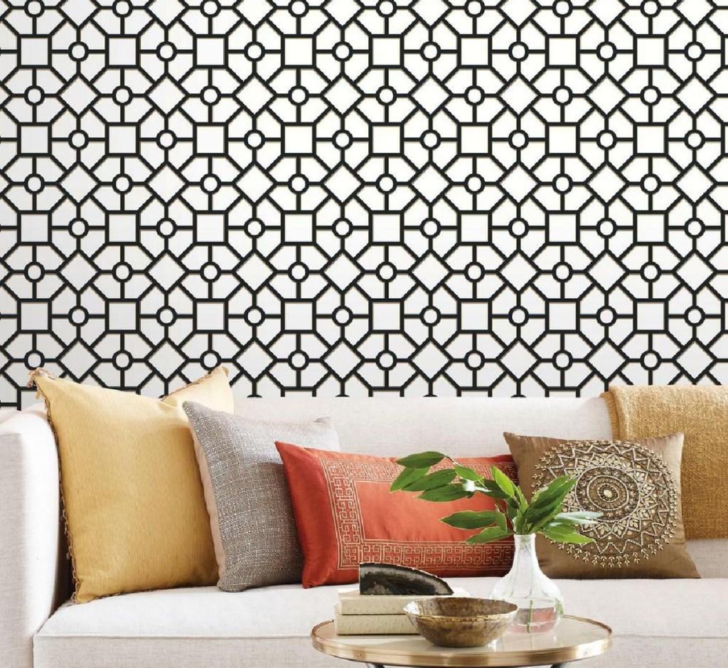 peel & stick wallpaper hedgerow trellis black and white