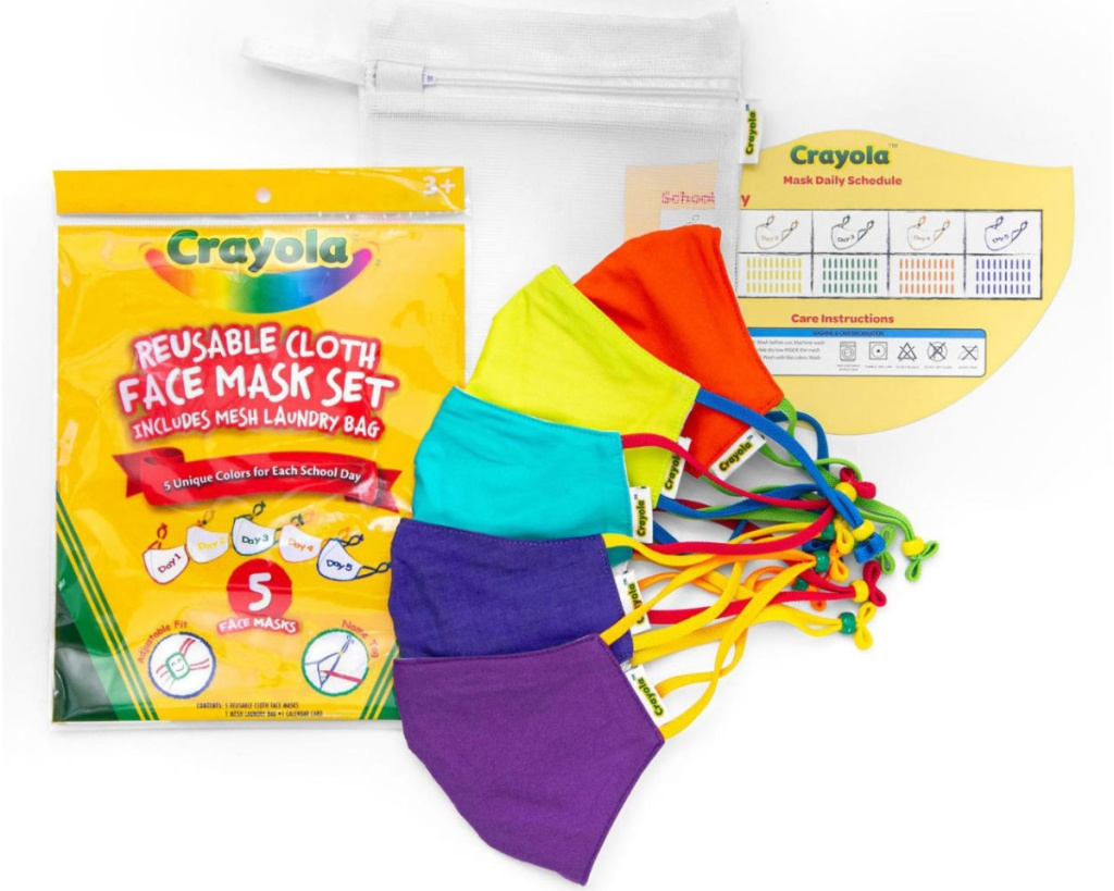 crayola kids face mask set with laundry bag