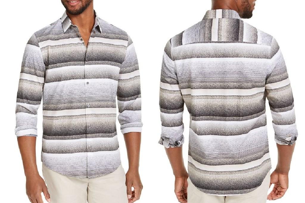 alfani mens striped shirt front and back