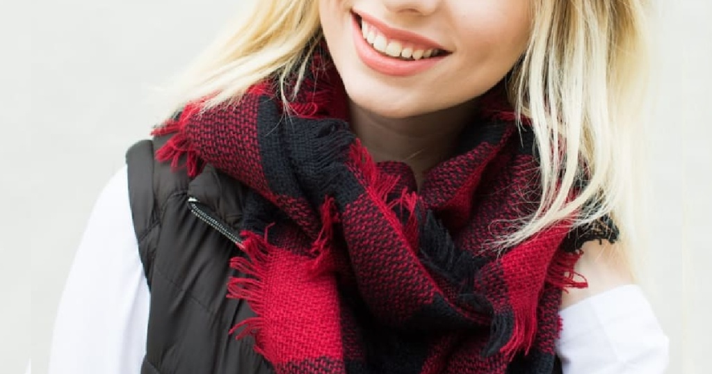 plaid red and black infinity scarf on woman