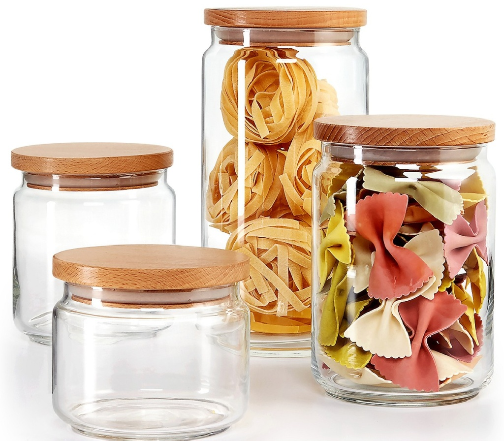 martha stewart canisters w/ lids with food in them