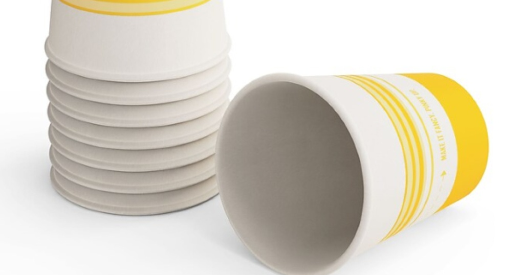 perk paper cups yellow and white