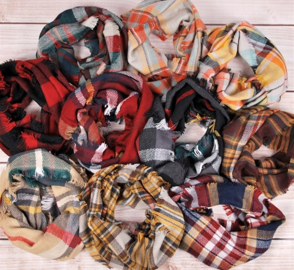plaid infinity scarves many in a pile