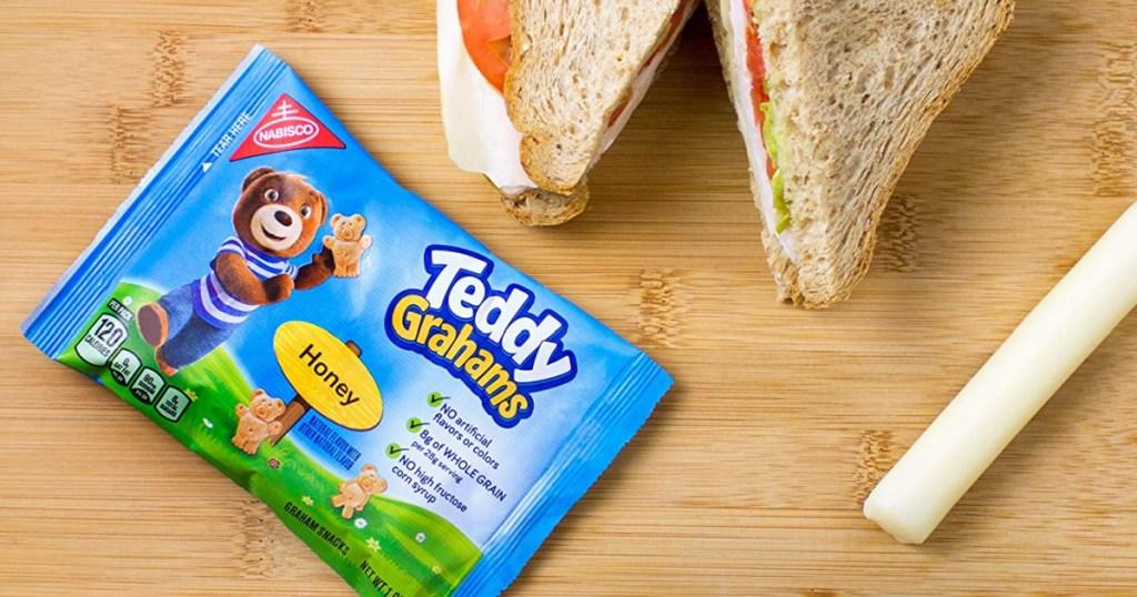nabisco teddy grahams next to sandwich