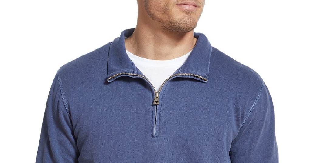 weatherproof vintage mens quarter-zip sweater blue