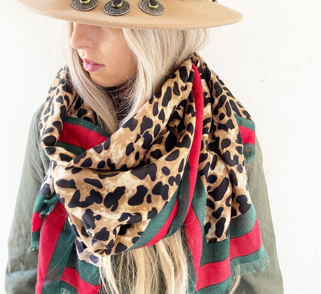 leopard infinity scarf on woman