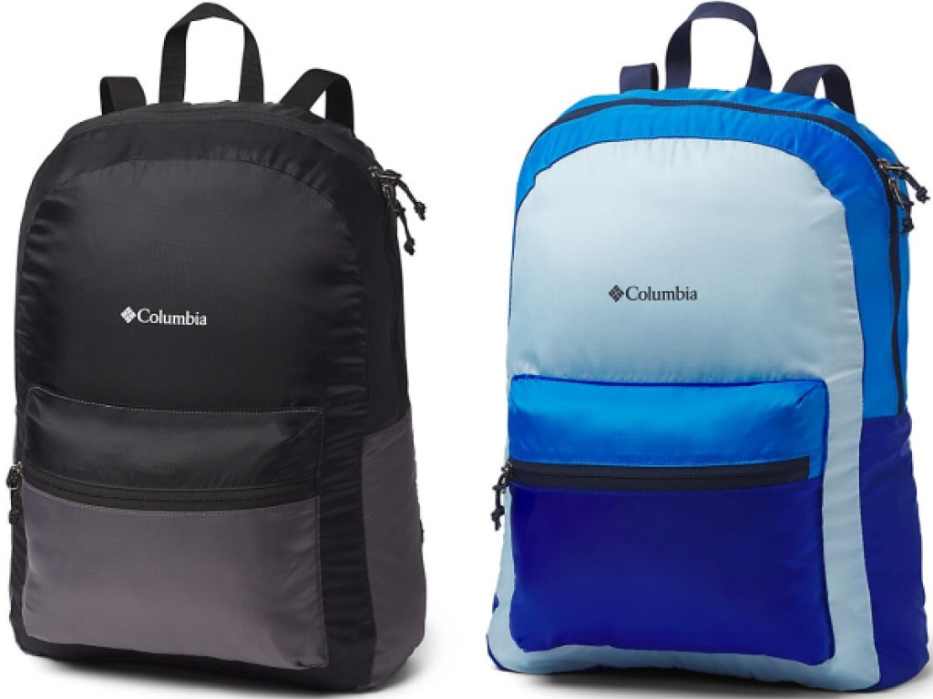 columbia lightweight packable backpack black and blue