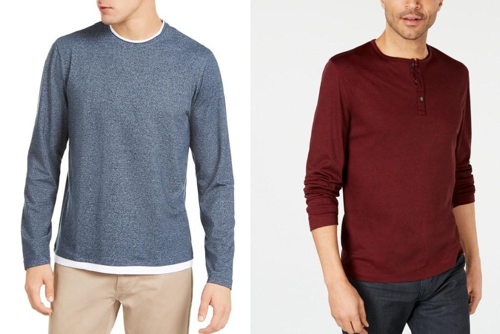 alfani mens shirts blue and maroon