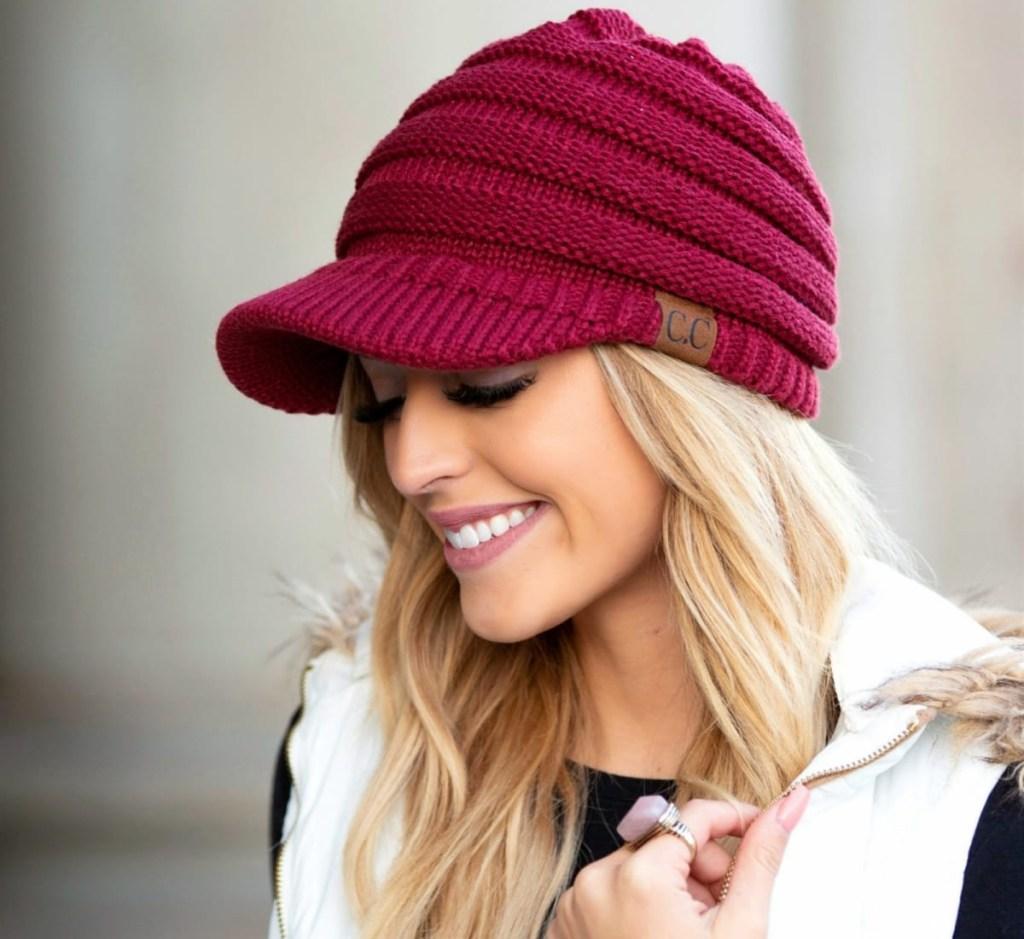 crocheted ball cap maroon