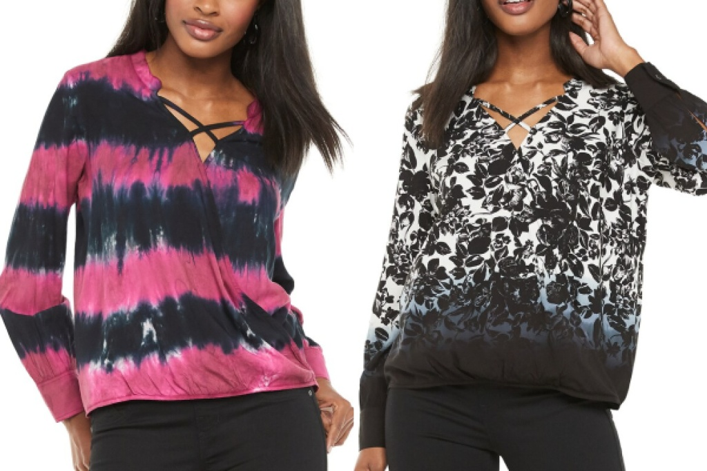 rock and republic criss cross surplice top pink and blue floral