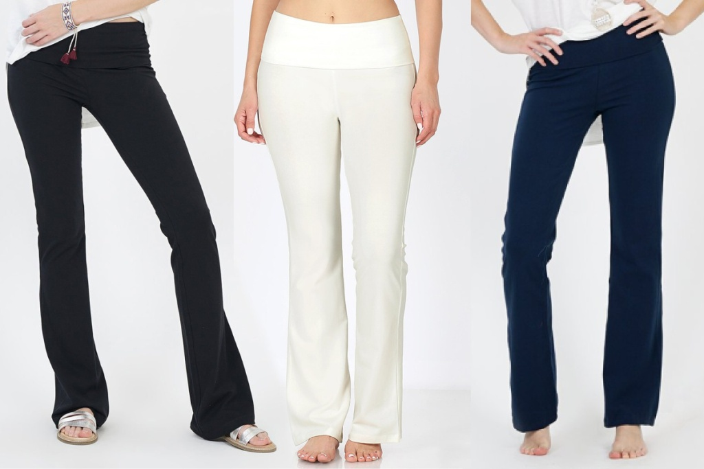 zulily yoga pants in black blue and white