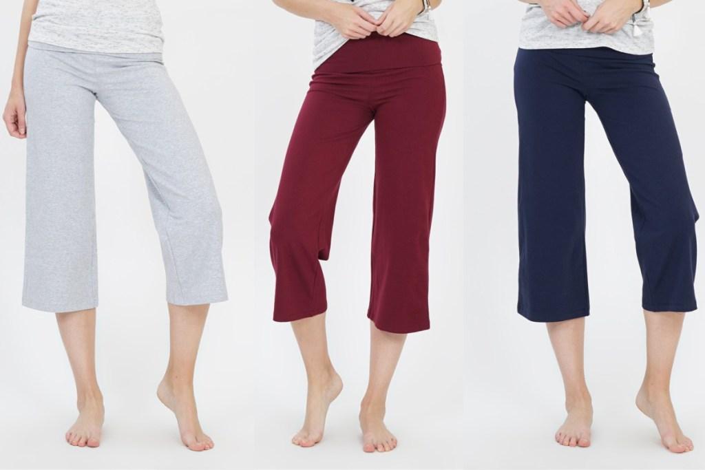 capri yoga pants on zulily grey maroon and navy